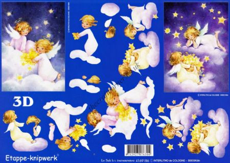 Angels Sitting In Clouds Collecting Stars 3d Decoupage Sheet
